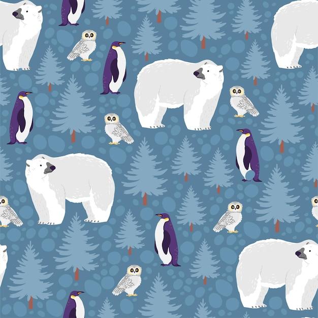 손으로 그린 북쪽 동물이 있는 벡터 평평한 매끄러운 패턴: 북극곰, 올빼미, 펭귄, 겨울 풍경에 격리된 전나무. 포장지, 카드, 벽지, 선물 태그, 보육 장식 등에 좋습니다.
