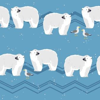 겨울 풍경에 손으로 그린 북극곰 동물, 눈, 갈매기, 산이 있는 벡터 플랫 매끄러운 패턴입니다. 포장지, 카드, 벽지, 선물 태그, 보육 장식 등에 좋습니다.