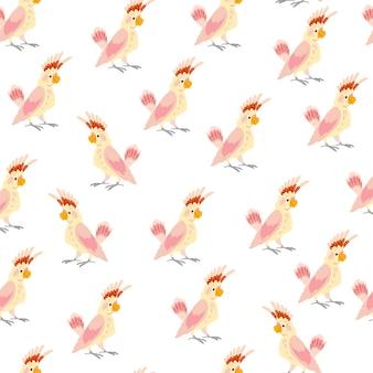 손으로 그린 열 대 앵무새 새 흰색 배경에 고립 된 벡터 평면 완벽 한 패턴입니다. 포장지, 카드, 벽지, 선물 태그, 보육 장식 등에 좋습니다.