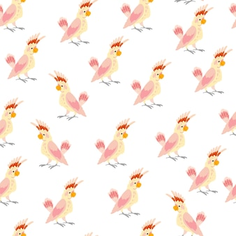 Vector flat seamless pattern with hand drawn tropical parrot birds isolated on white background. good for packaging paper, cards, wallpapers, gift tags, nursery decor etc.
