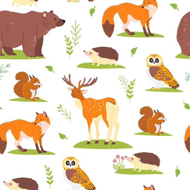 野生の森の動物、鳥、白い背景で隔離の花の要素とベクトルフラットシームレスパターン。フクロウ、クマ、キツネ。紙、カード、壁紙、ギフトタグ、保育園の装飾などの包装に適しています。