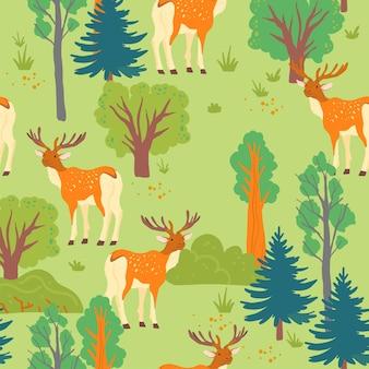 야생 숲이 있는 벡터 평면 원활한 패턴:나무, 덤불, 사슴 동물은 녹색 배경에 격리되어 있습니다. 포장지, 카드, 월페이퍼, 선물 태그, 보육 장식, 카드, 지문 디자인 등에 적합