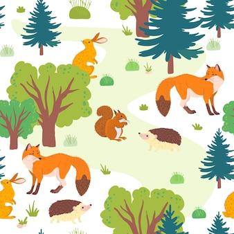 야생 숲 나무, 잔디 및 흰색 배경에 고립 된 동물 벡터 평면 완벽 한 패턴입니다. 여우, 고슴도치, 다람쥐, 토끼. 포장지, 카드, 벽지, 선물 태그, 보육 장식 등