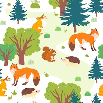 Vector flat seamless pattern with wild forest trees, grass and animals isolated on white background. fox, hedgehog, squirrel, hare. for packaging paper, cards, wallpapers, gift tags, nursery decor etc