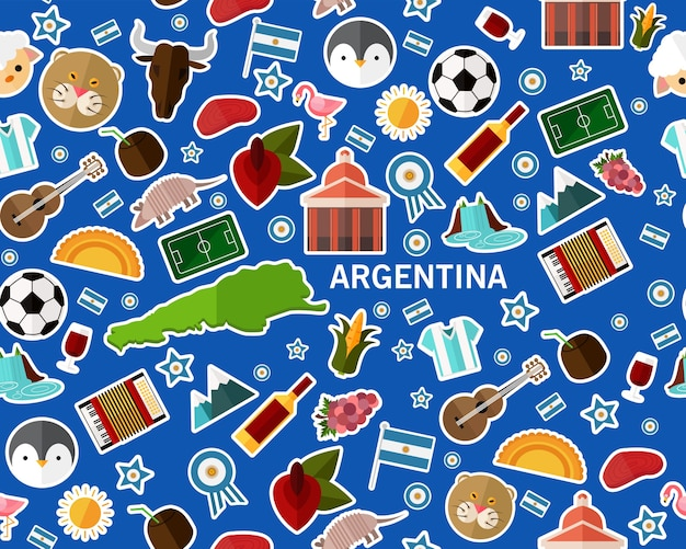 Vector flat seamless texture pattern argentina