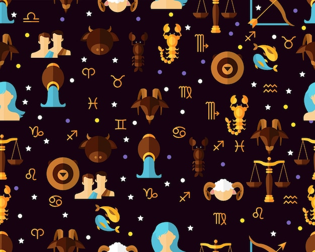 Vector flat seamless texture pattern astrological zodiac.