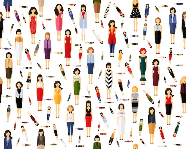 Vector flat seamless texture pattern avatars of female .