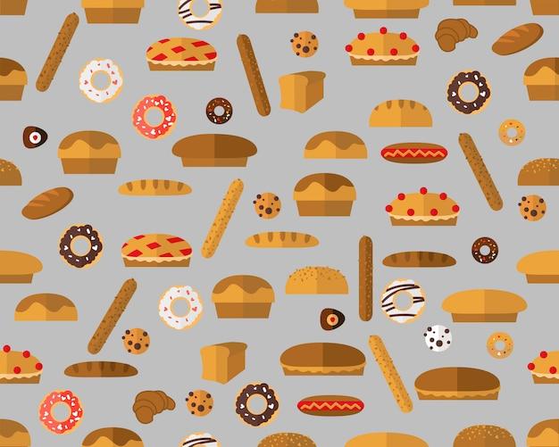 Vector flat seamless texture pattern baker breads.