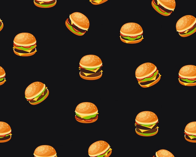 Vector flat seamless texture pattern burgers