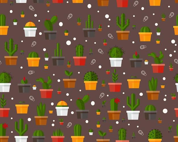 Векторные плоские бесшовные модели текстуры кактусов в цветочный горшок