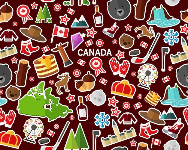 Vector flat seamless texture pattern canada