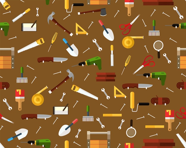 Vector flat seamless texture pattern carpenters.