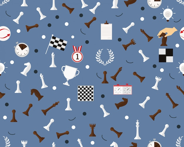 Vector flat seamless texture pattern chess pieces.