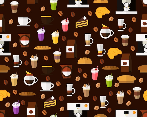 Vector flat seamless texture pattern coffee and bakery.