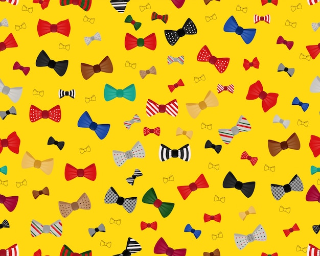 Vector flat seamless texture pattern collection of bow .