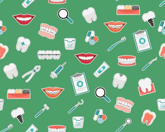 Вектор плоская бесшовная текстура узор стоматологическая помощь