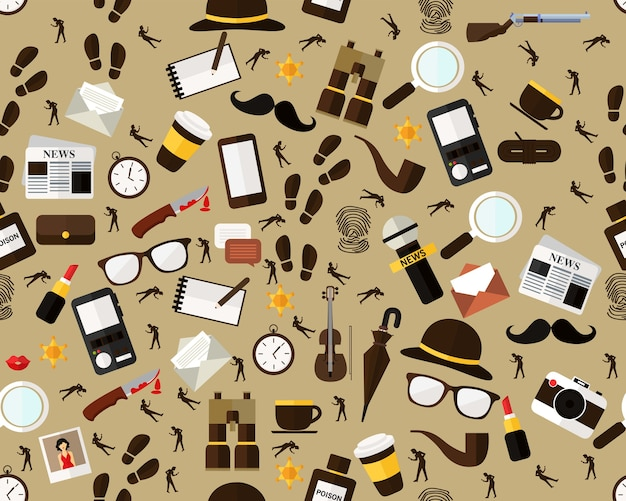 Vector flat seamless texture pattern detective story.