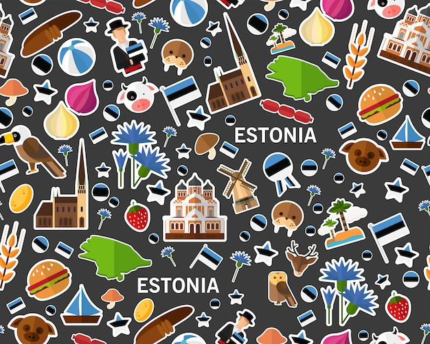 Vector flat seamless texture pattern estonia