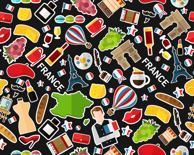 Vector flat seamless texture pattern france