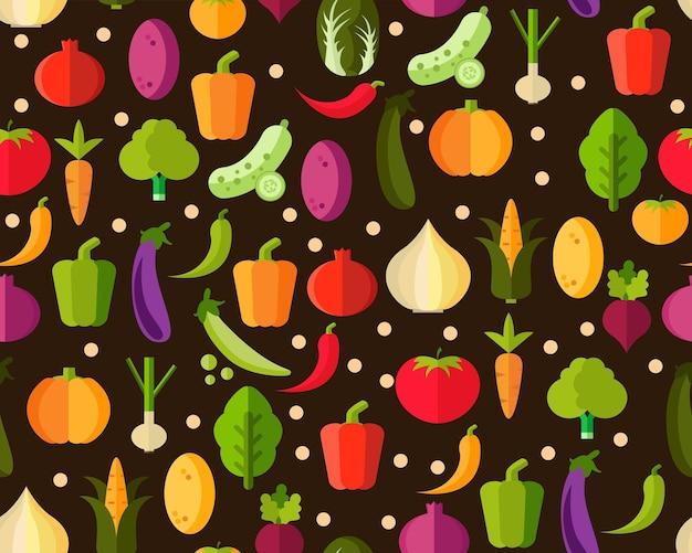 Vector flat seamless texture pattern fresh vegetable .