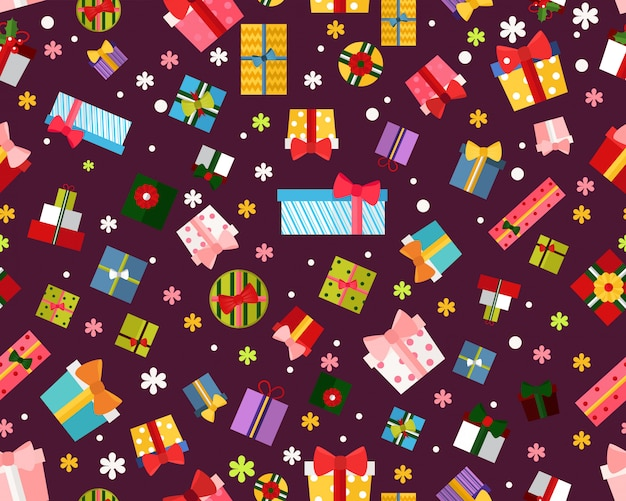 벡터 평면 원활한 텍스처 패턴 선물 상자입니다.