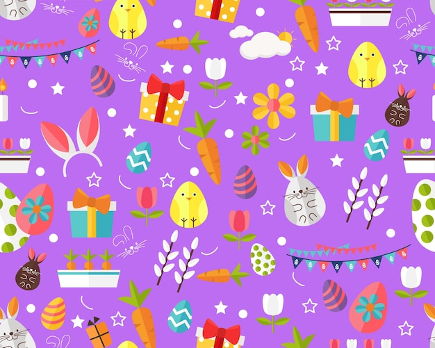 Vector flat seamless texture pattern happy easter .