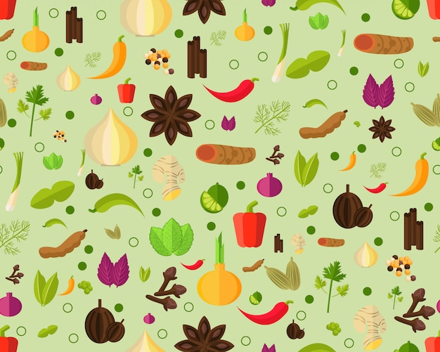 Vector flat seamless texture pattern herbs and spices.