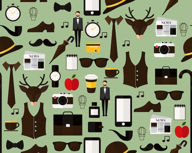 Vector flat seamless texture pattern the hipster .