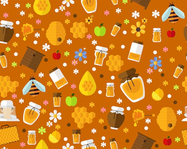 Vector flat seamless texture pattern honey and bee.