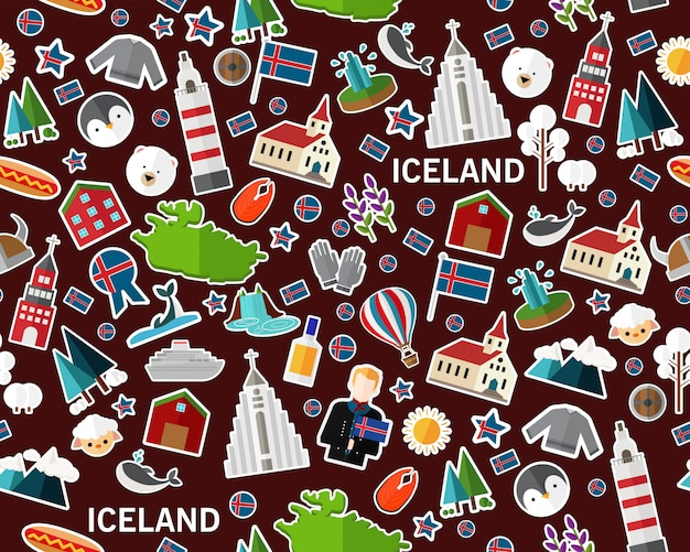 Vector flat seamless texture pattern iceland