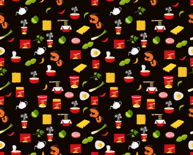 Vector flat seamless texture pattern instant noodle.