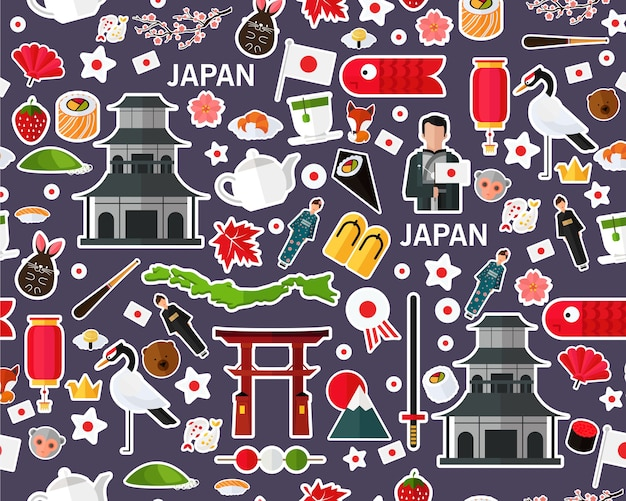 Vector flat seamless texture pattern japan