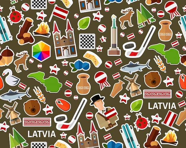 Vector flat seamless texture pattern latvia
