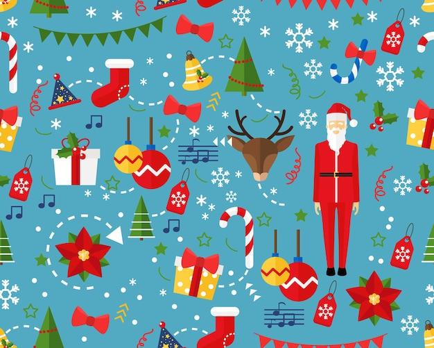 Vector flat seamless texture pattern merry christmas .