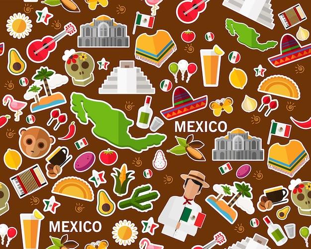 Векторный плоский бесшовный узор текстуры mexico