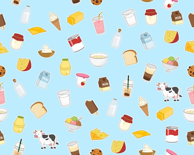 Vector flat seamless texture pattern milk dairy product.