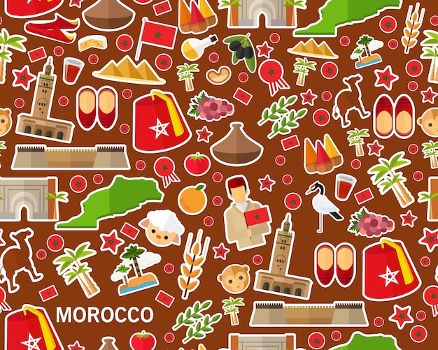 Vector flat seamless texture pattern morocco
