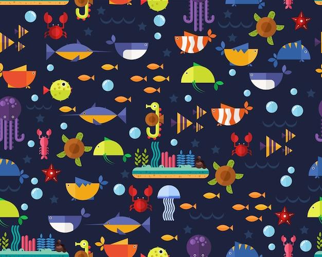 Vector flat seamless texture pattern ocean underwater life .