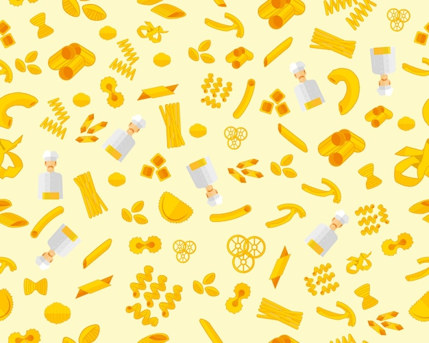Vector flat seamless texture pattern pasta set.