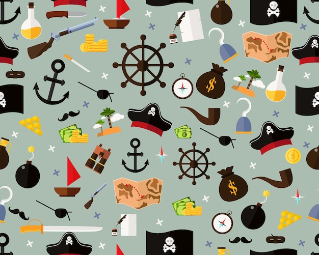 Vector flat seamless texture pattern pirates.