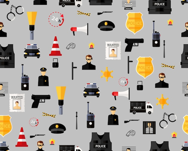 Vector flat seamless texture pattern police department .