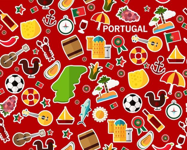 Вектор плоский бесшовный узор текстуры portugal