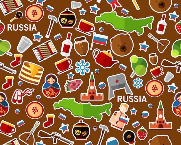 Векторные плоские бесшовные текстуры шаблон россия