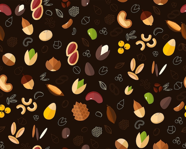 Vector flat seamless texture pattern seed been nut.