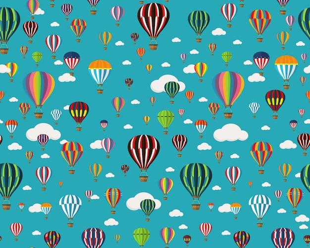 Vector flat seamless texture pattern set of air balloons.