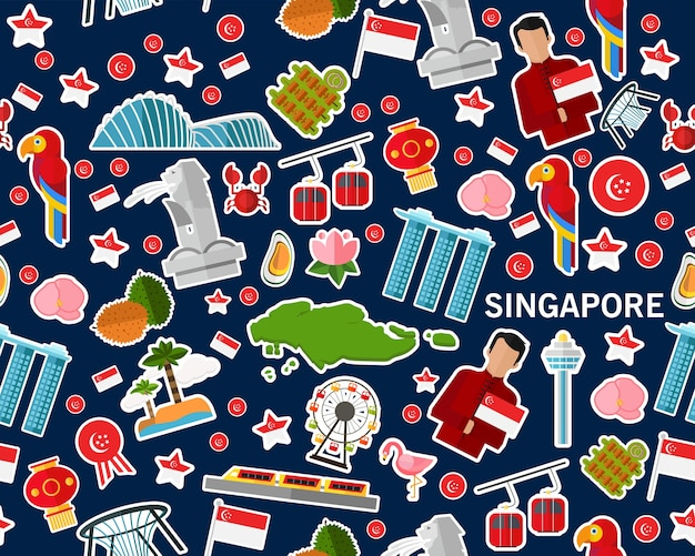 Vector flat seamless texture pattern singapore