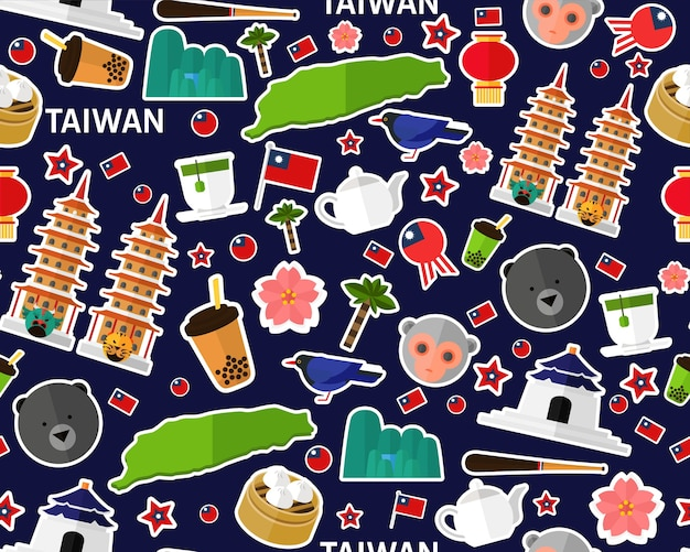 Vector flat seamless texture pattern taiwan