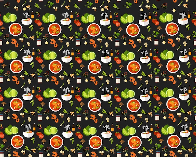 Vector flat seamless texture pattern thai cuisine