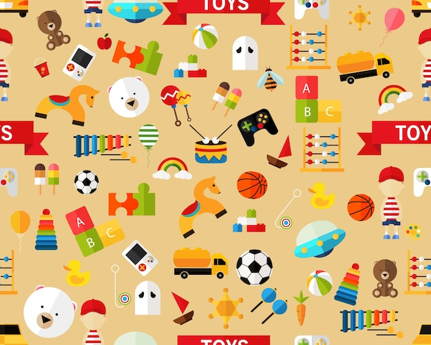Vector flat seamless texture pattern toys.