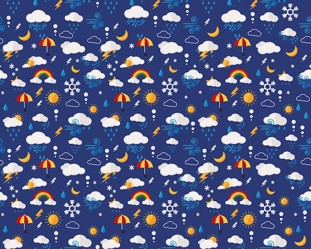 Vector flat seamless texture pattern weather report.